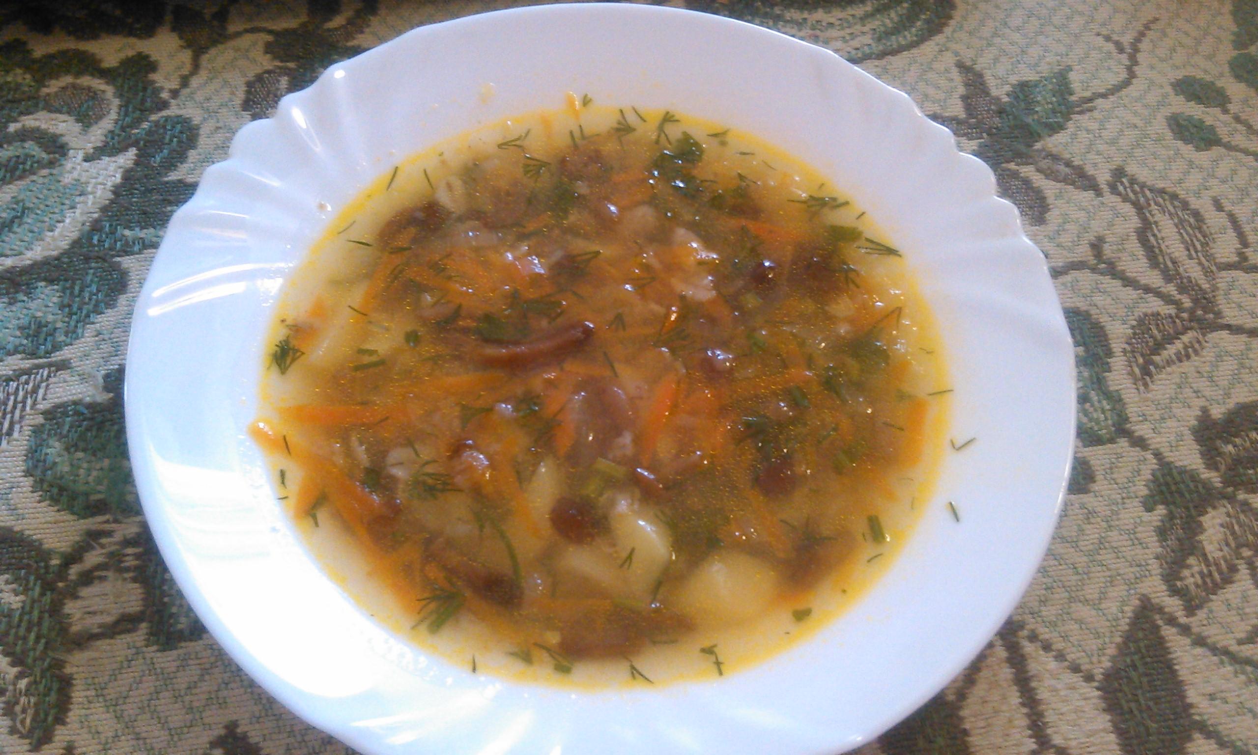 Суп грибной с опятами.